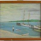 Vintage Folk Art Naive Painting Yacht Basin Marine Beach Wading Man Nautical