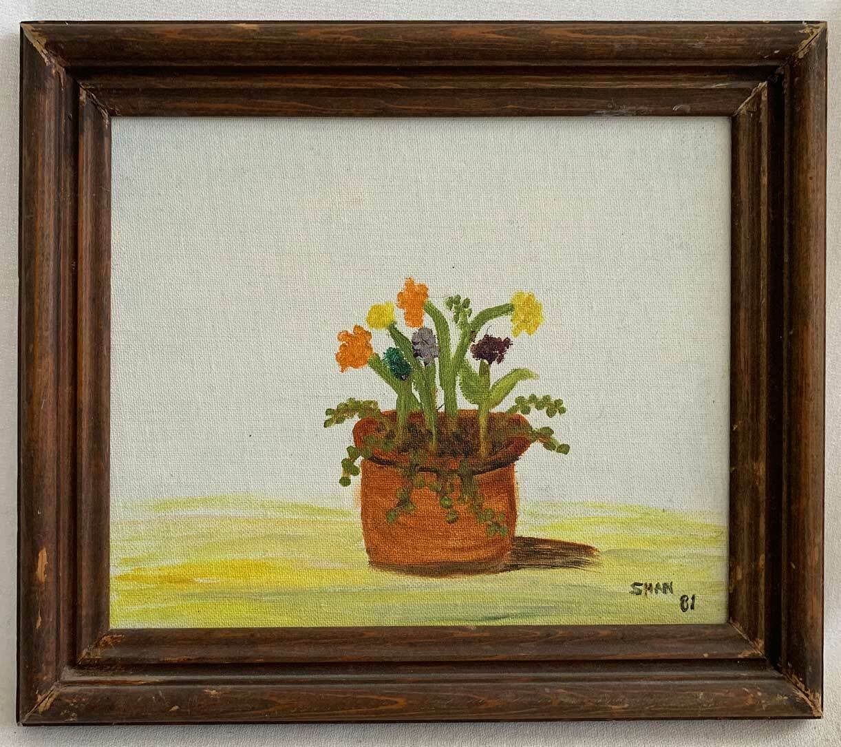 S Prince Vintage Outsider Art Painting Flowers Drooping Sunny Pot Still Life