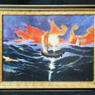 Marine Nautical Boating Original Painting Stormy Weather Sailboats Jim Campbell