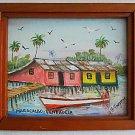 Maracaibo Venezuela Ethnic Vintage Painting Stilt Shacks Indian Boat Esquvez