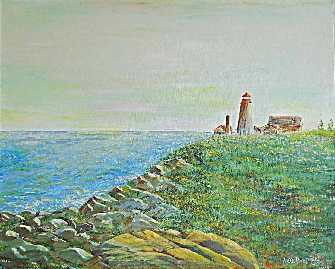 Naive Primtive Light House Seascape Vintage Painting by Ruth Bregman