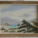 Beach Modernist Rustic Landscape Painting by Vege w/ Pale Driftwood Frame