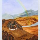 Folk Art Western Original Painting Mountain Sheep Rainbow Desert River Ranching