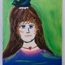 Vintage Folk Art Original Painting Girl With Bluebird On Her Head Hatching Eggs