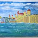 Steeple Chase Par Atlantic City NJ Folk Art Vintage Painting Amusement Pier  FRK