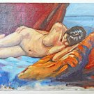 Undraped Female Vintage Original Painting Modernist Reclining Pillow Bed Max