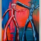 Abstract Fauvism Painting Silhouettes Distorted Dancers Vintage Spook Original