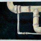 Industrial Art Painting Vintage Outsider Folk Plumbing Drain Pipe Brutalist Gray
