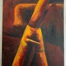 Industrial Brutalist Painting Plumbing Copper Pipes Outsider Art Folk Beckmann