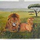 E Porter Africa Male Lion With Cub Vintage Original Painting Grassland Wildlife