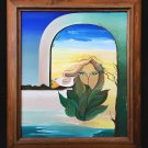Surrealism Vintage Painting Woman Face Floating Sky White Dove Window Sea