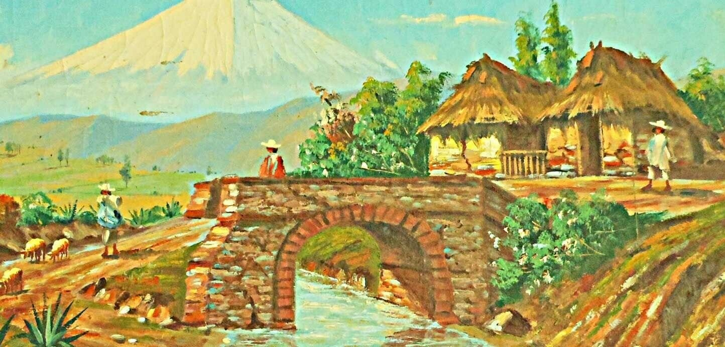 Vintage Central America Painting Volcano Ring Fire Sheep Thatch Village Endara