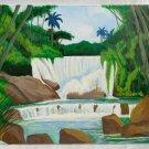 Painting Cuba Folk Art Waterfall Tropical Pintura Cubana Primitive F Martell