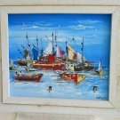 Delva Serge Haitian Marine Boats Painting Ethnic Folk Art Busy Harbor Fisherman