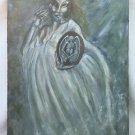 Winged Skeleton Inspirational Painting  Vintage Original Modernist Houri Mceam