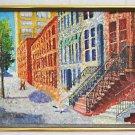 New York City Vintage Folk Original Painting Lower East Side Tenement  Celia