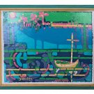 Folk Art Vintage Original Painting Impressionist Pointillism Boat Harbor Lawliss