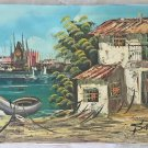 Modernist Vintage Original  Folk Art Painting Fishing Village Cathedral Santi