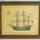 Ship Vintage Watercolor Painting Privateer Rattleshake Rendering Marine US Flag