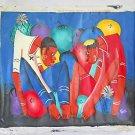 Vintage Haitian Painting War of Tongues Allegorical Men Showdown Carlos Ethnic