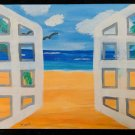 California Outsider Folk Art Original Painting Modernist Doors Malibu Beach Hood