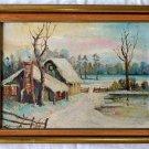 Winter Snow Vintage Folk Art Original Painting Pioneer Cabin in Woods C Chanois