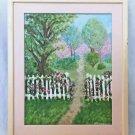 Folk Art Vintage Garden Painting Rose Covered White Picket Fence Path Paradise