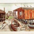 Fred Sargent Marine Vintage Original Painting Boat Yard Work Shack Watercolor