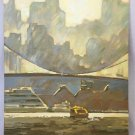 Boris Kelerman New York City Modernist Original Painting NYC Bridge East River