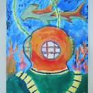 Helmet Diver Underwater Outsider Art Folk Original Painting Hard Hat Shark Dive