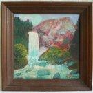 California Folk Art Naive Vintage Painting  J Silvester Vernal Falls Yosemite 76