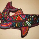 Throw Pillow Vintage  Kuna Mola Black Purple Shark Cut Out Fish Marine Beach