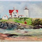 American Flag Vintage Folk Art Painting Lighthouse Keeper House With Face Marine