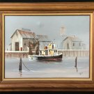 Leo Martin Ft  Meyer Florida Vintage Original Painting Fishing Wharf Ester Pearl