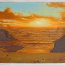 D Lightsey Seascape Western Vintage Painting Sunset Pacific Ocean Cove Surfing