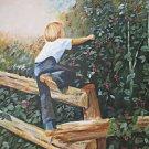 Cherry Picking Painting  Orchard Washington Folk Art Naive Vintage Boy  Staples