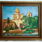 Carmel California Painting Mission Vintage Antique Folk Art Architectural Lamy