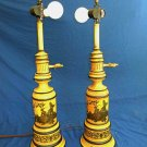 Pair Vintage Tole Lamps French Scene Lovers Dog Hollywood Regency Yellow Gold