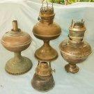 Antique Decor 4 Kerosene Oil Paraffin Lamps for Parts NOT Working Not Complete