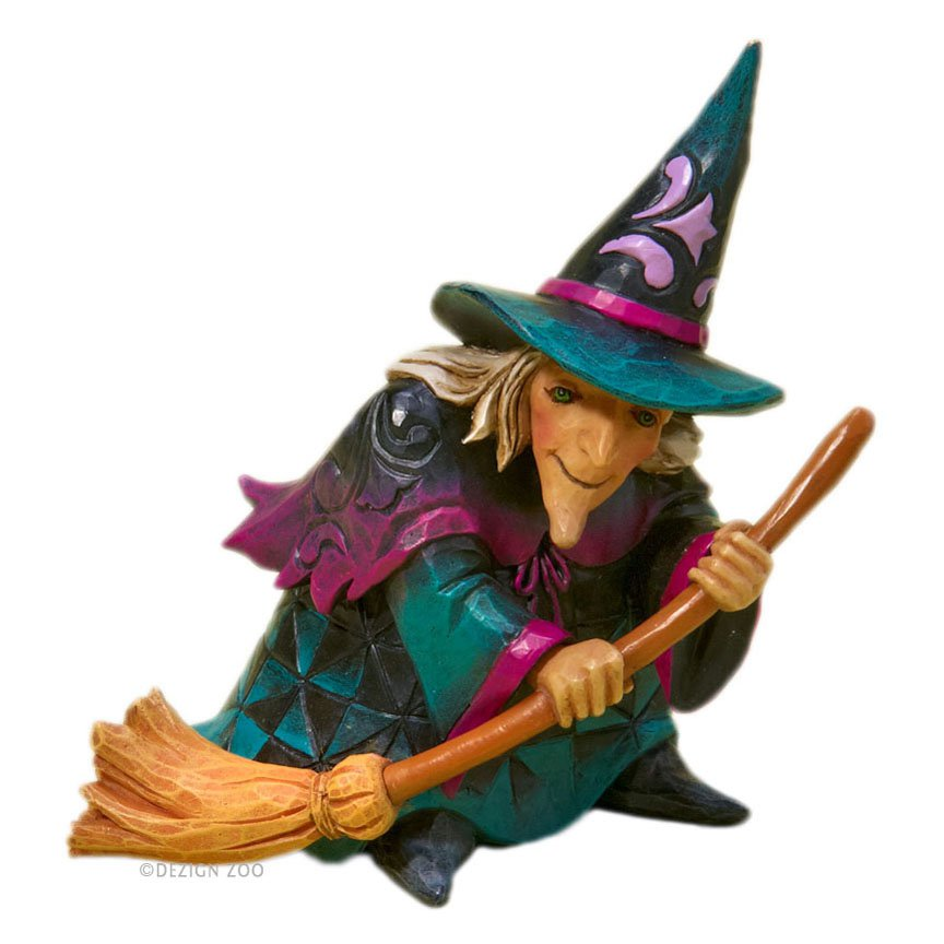 Jim Shore Heartwood Creek Mini Witch and Broom Halloween Figurine