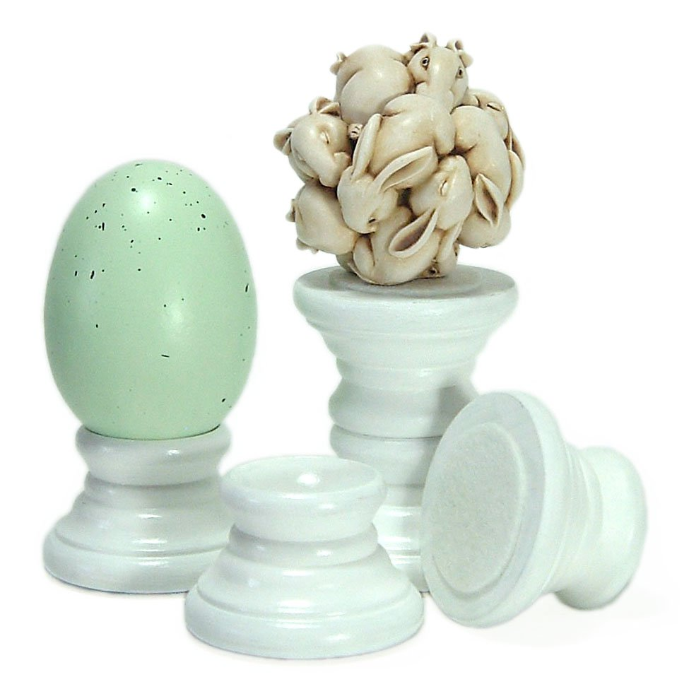 White Painted Wood Egg Globe Figurine Holders Home and Easter Decor Accessories
