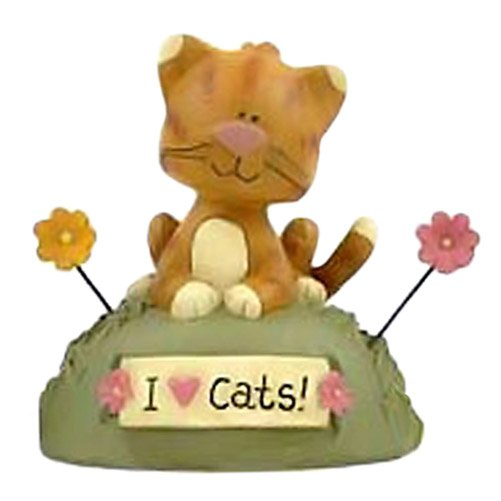 Blossom Bucket I Love Cats with Flowers Figurine