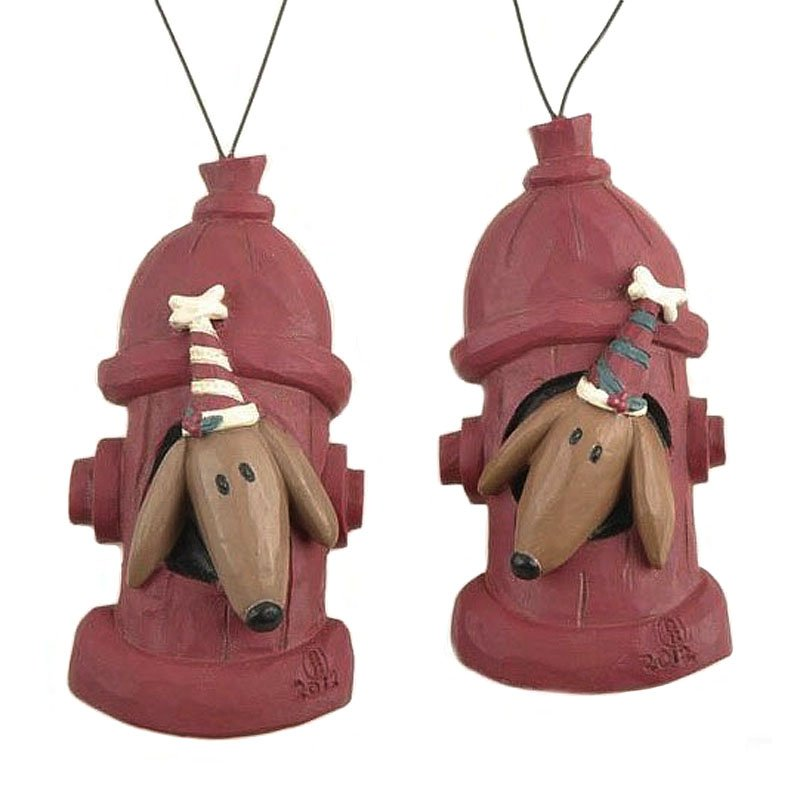 Blossom Bucket Dogs in Fire Hydrants Christmas Ornaments Gift Tags