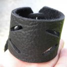 Men bracelet Black Genuine Buffalo Leather wristband Handmade Adjustable Indian