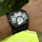 Men's Triple Time Zone Military Army Quartz Sport Wrist Watch Bracelet Buffalo