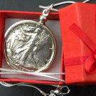 1944 Vintage Walking Liberty Half dollar silver necklace pendant silver chain
