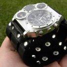 Buffalo Leather handmade wristband  cuff bracelet Men`s Military handmade watch