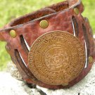 "Men`s bracelets Handmade Buffalo Leather 2 3/8 "" wide Dentalium Aztec style coin"