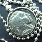 Vintage Buffalo Indian Nickel coin handmade necklace stainless steel chain