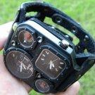 Buffalo Leather handmade wristband  cuff bracelet Men`s Watch Steam punk duel ti